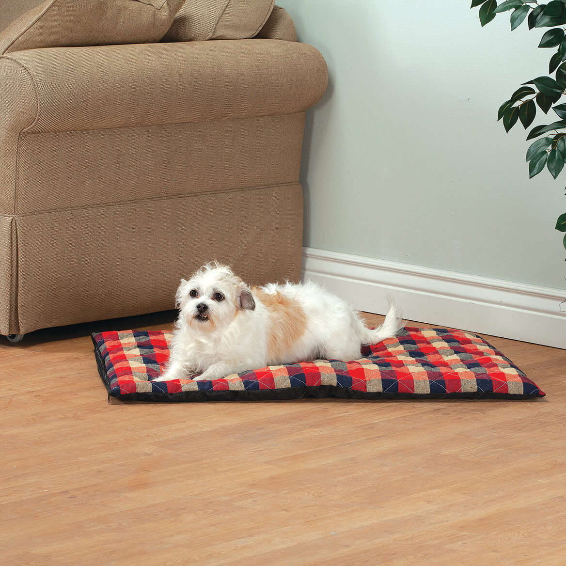 Plaid Quilted Thermal Pet Bed-369667