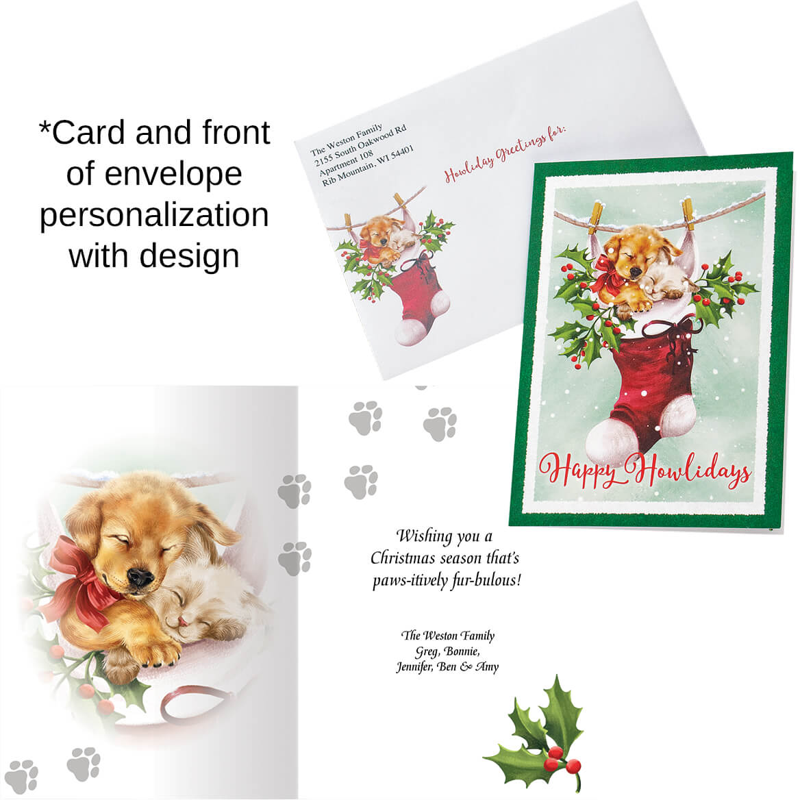 Personalized Cozy Greetings Christmas Cards set of 20-370186