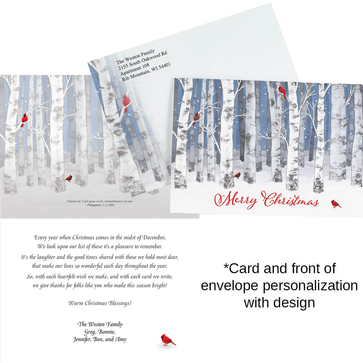 Personalized Snowy Birch Christmas Cards Set of 20-370189
