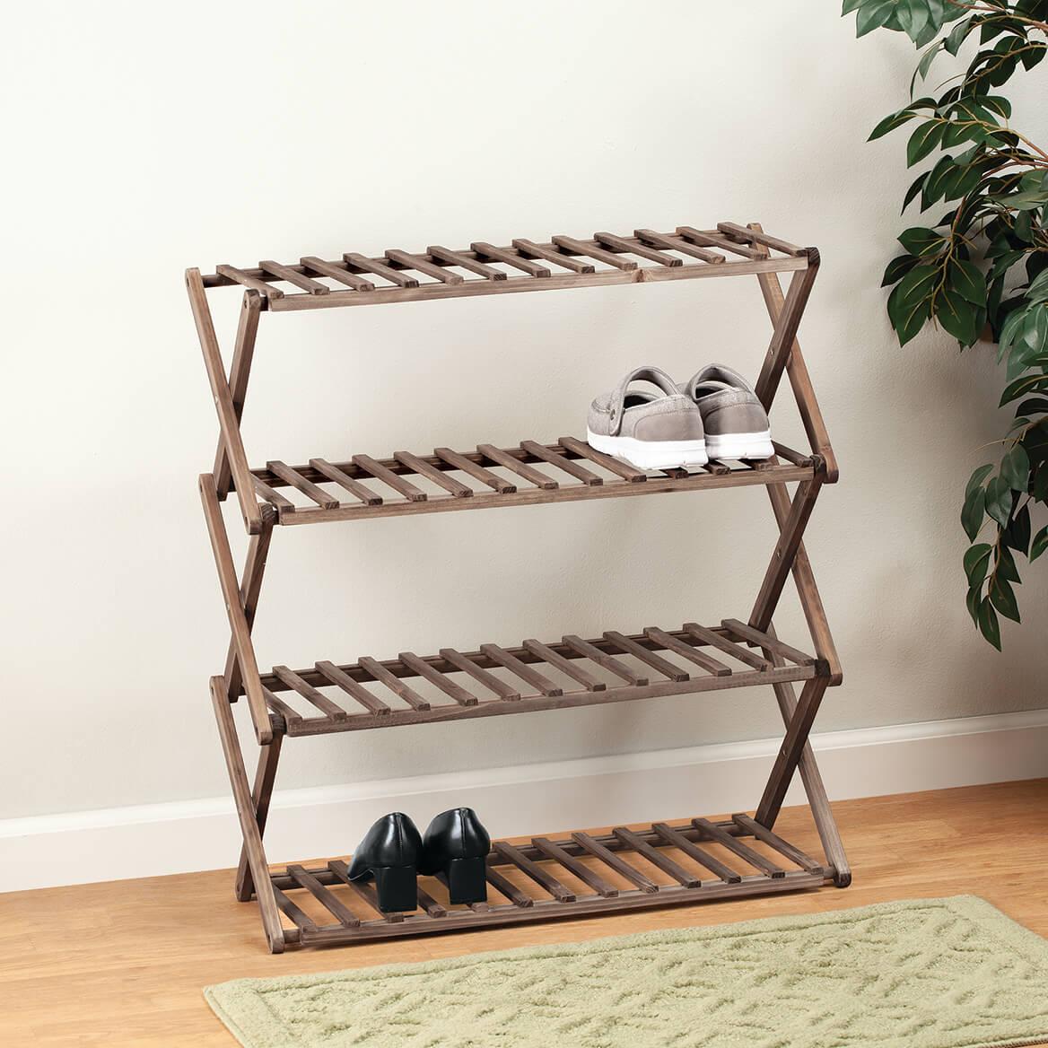 Fir Wood Folding Shoe Rack-370516