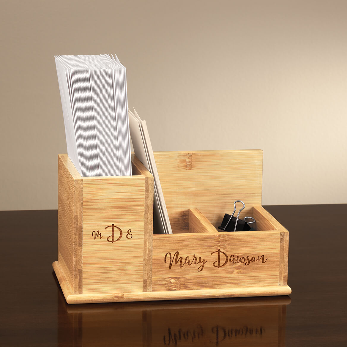 Personalized Bamboo Mail Sorting Holder-370625