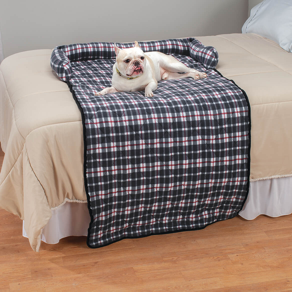 Plaid Bolstered Pet Bed and Cover-370688