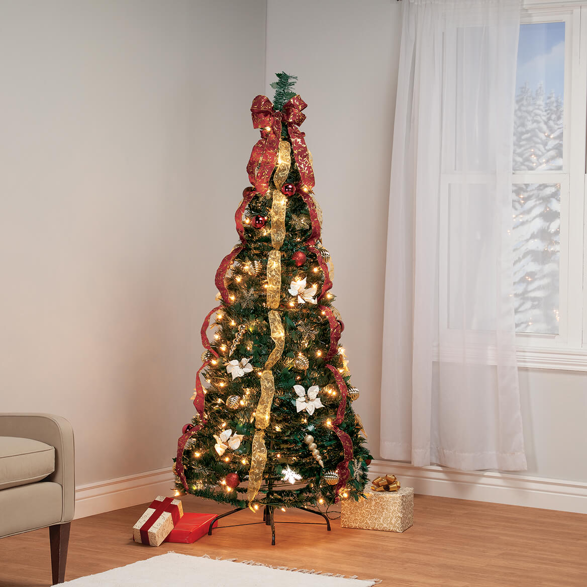 6' Burgundy & Gold Victorian Pull-Up Tree by Holiday Peak™-370813