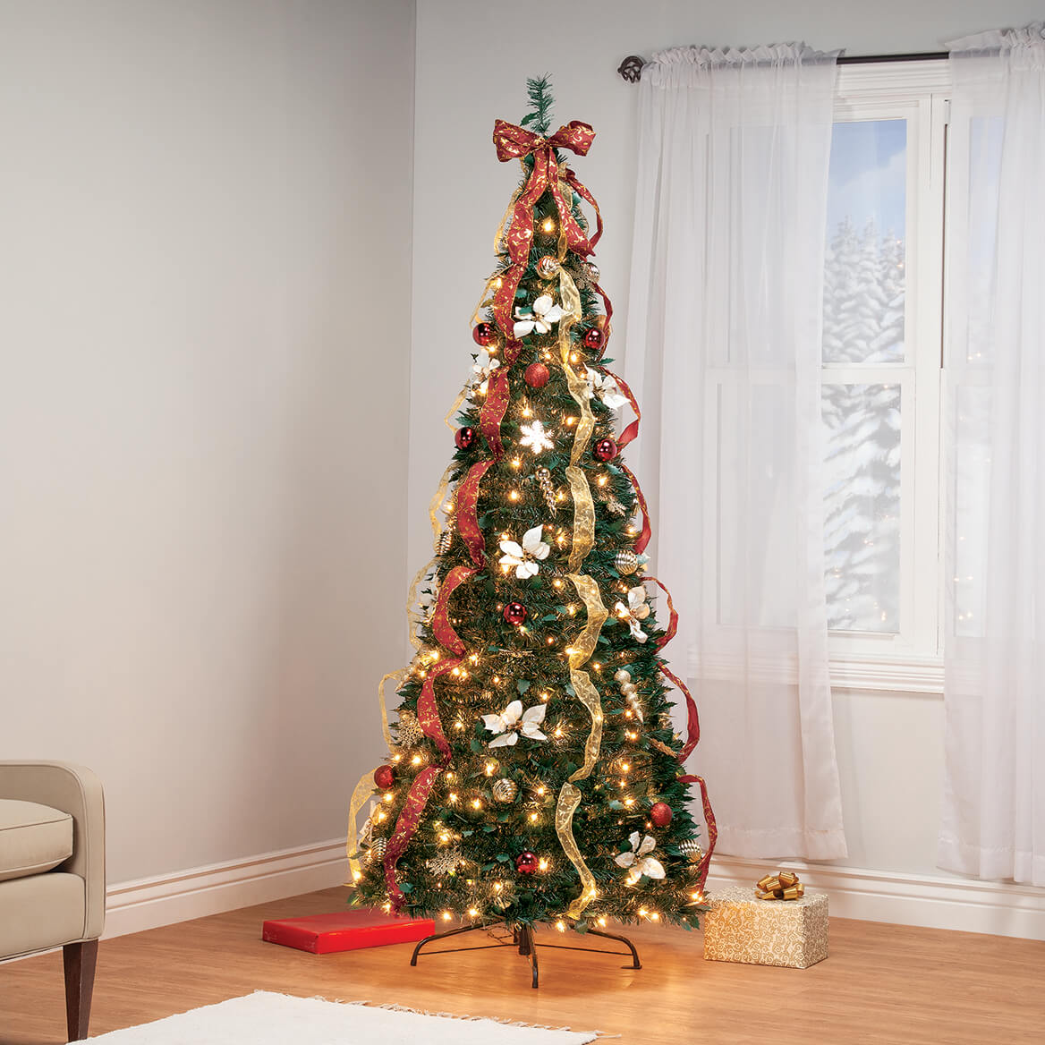 7' Burgundy & Gold Victorian  Pull-Up Tree by Holiday Peak™-370814