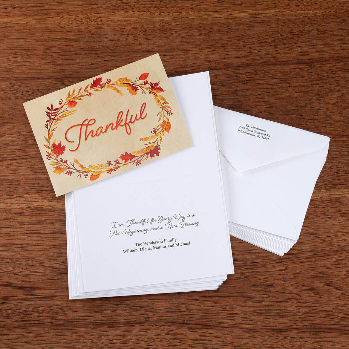 Personalized Thankful Card Set of 20-371158