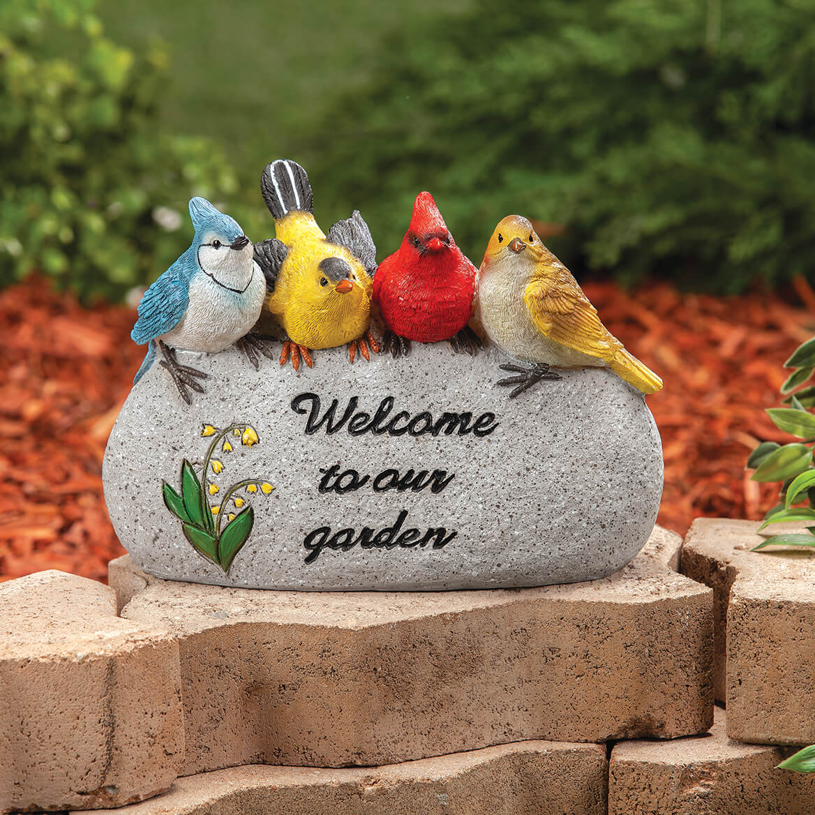 """Resin """"Welcome to our Garden"""" Birds Stone-371192"""