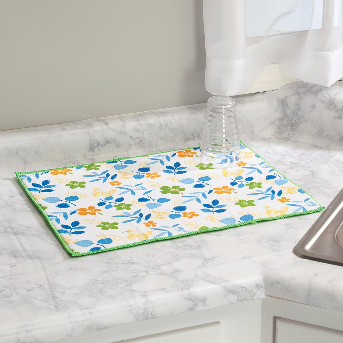 Floral Design Dish Drying Mat-371279