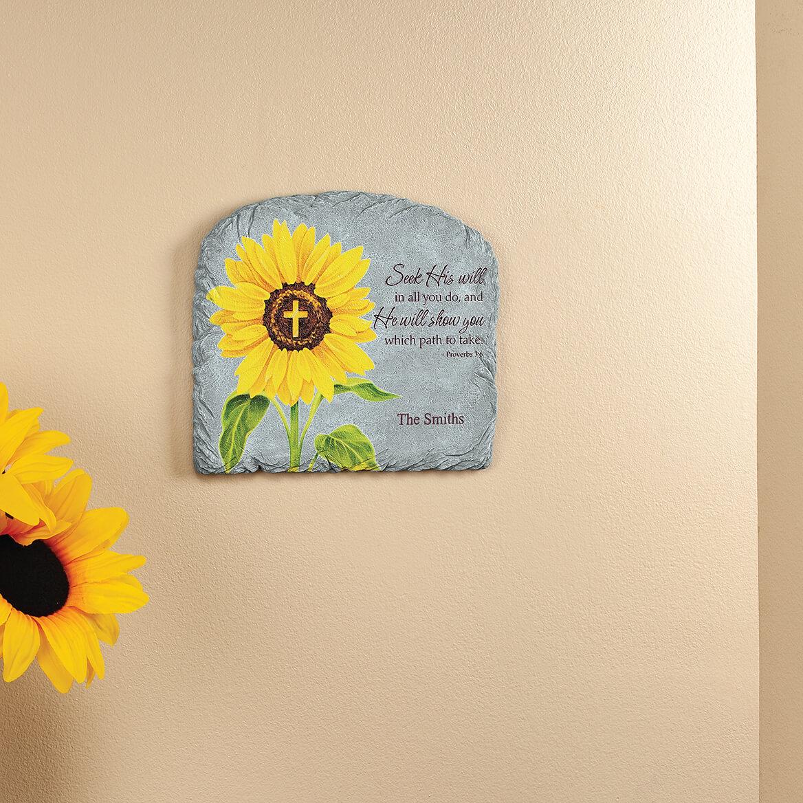 Personalized Sunflower Proverbs 3:6 Garden Stone-371655