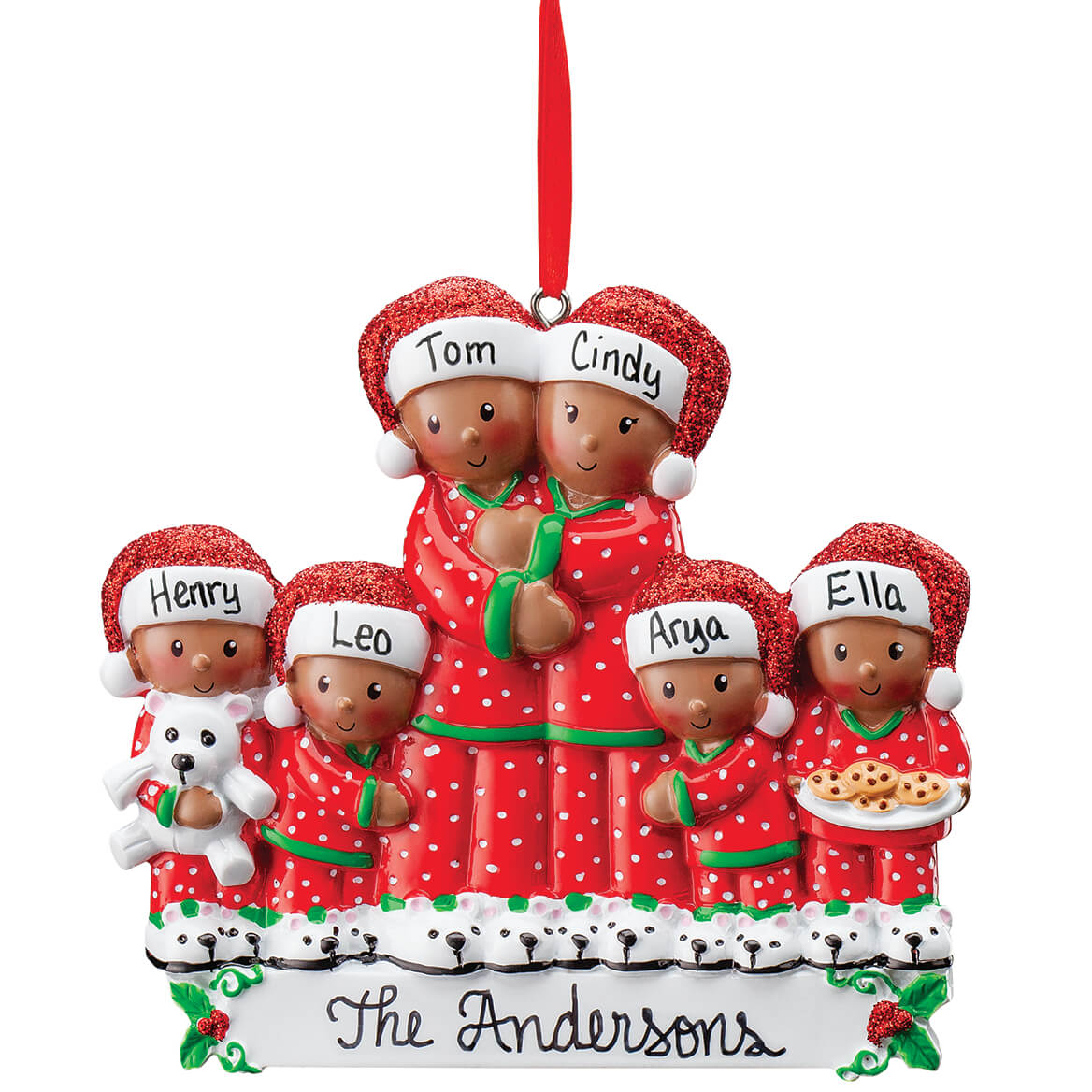 Personalized Darker Skintone Family in Pajamas Ornament-371677
