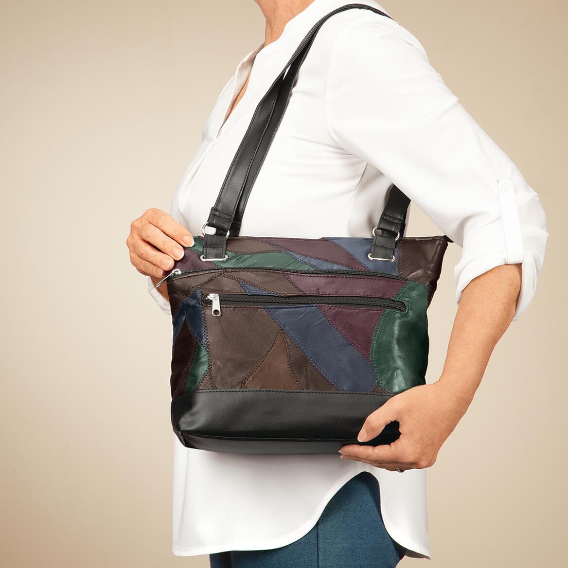 Patch Leather Tote Bag-371774