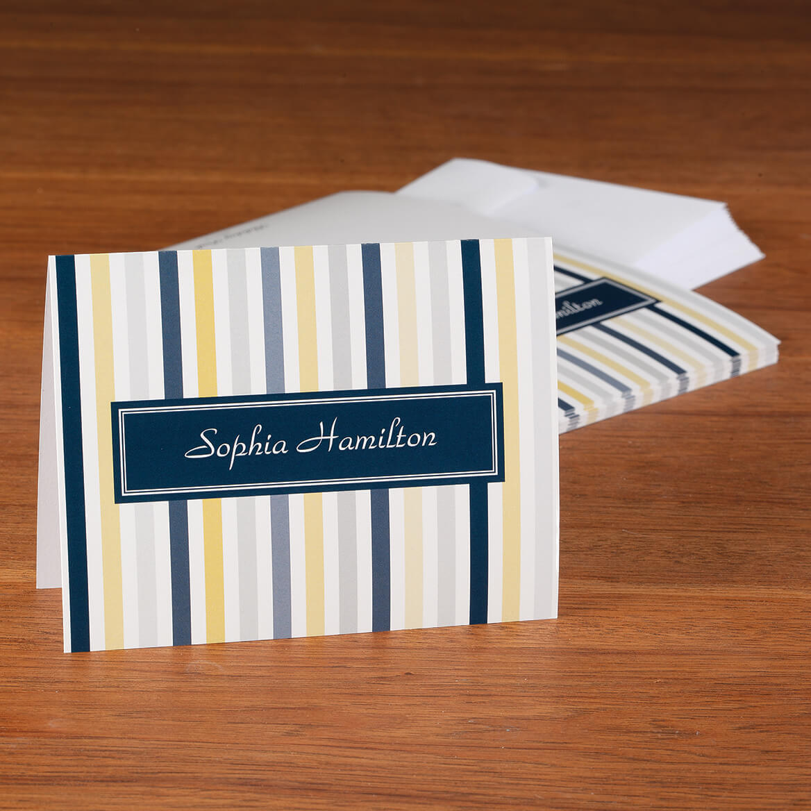 Personalized Striped Note Cards, Set of 20-372029
