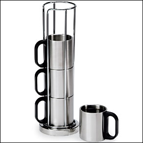 Metal Coffee Cup Rack & 4 Cups