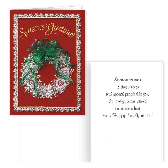 Lace Wreath Christmas Card Set - Set Of 20