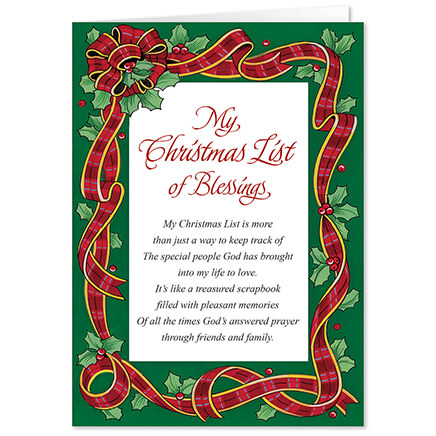 christmas list of blessings walter drake - My Christmas List