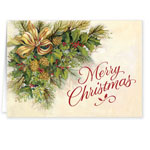 Secular - Christmas Greenery Secular Christmas Card Set of 20