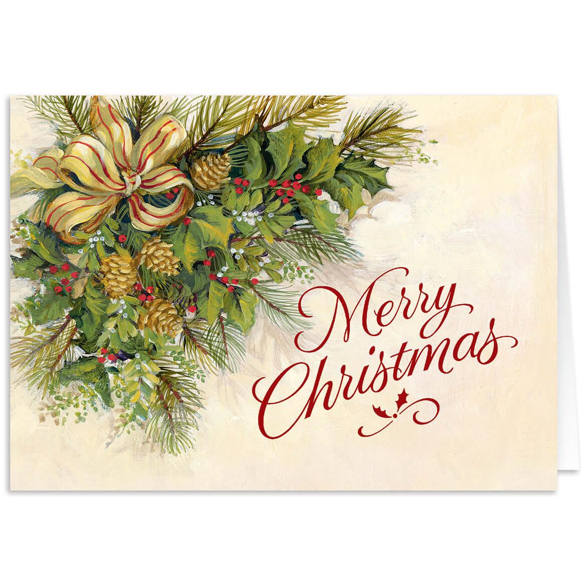 Christmas Greenery.Personalized Christmas Greenery Christmas Card Set Of 20