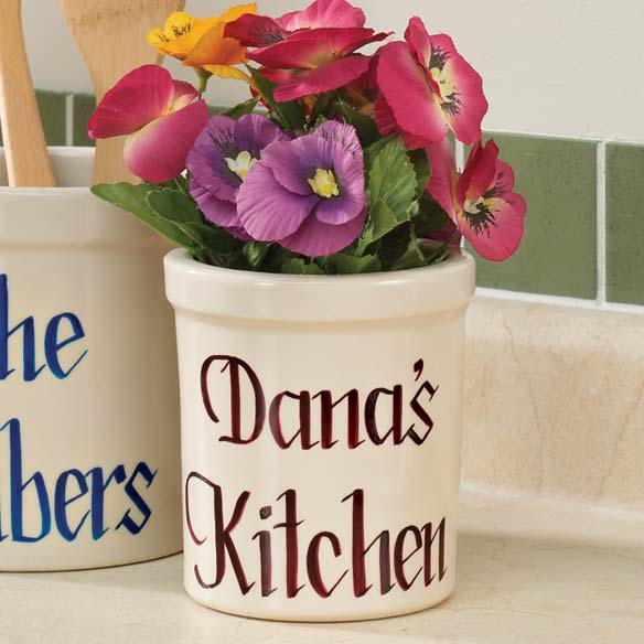 1 Quart Personalized Stoneware Crock