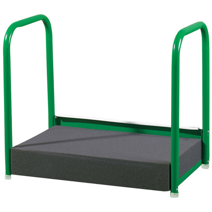 Gardening Kneeler, Green The next time you putter in the petunias, be sure to take a rest! This gardening kneeler is a padded metal knee rest that has painted tubular steel handles to make getting up and down easier. Has a comfy 3 thick cushion. Gardening kneeler rest has protective leg caps so it won't scratch floors when used indoors. Easy assembly. 17 3/4 long x 11 wide x 13 1/4 high.
