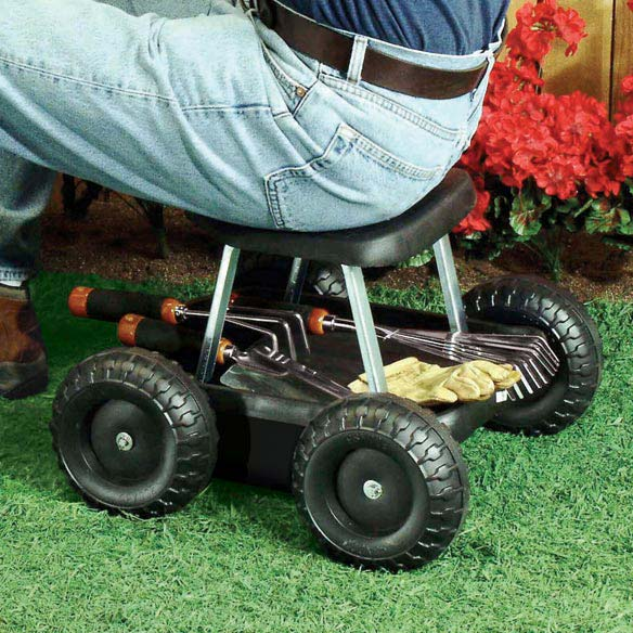 Garden Scooter Saving you from bending, stooping and kneeling, our sturdy garden scooter's four wide plastic wheels offer smooth-rolling ease, indoors or out! Garden scooter features durable, molded plastic seat and convenient tool tray. Assembly required. Supports up to 250 lbs; seat is 13 off the ground.