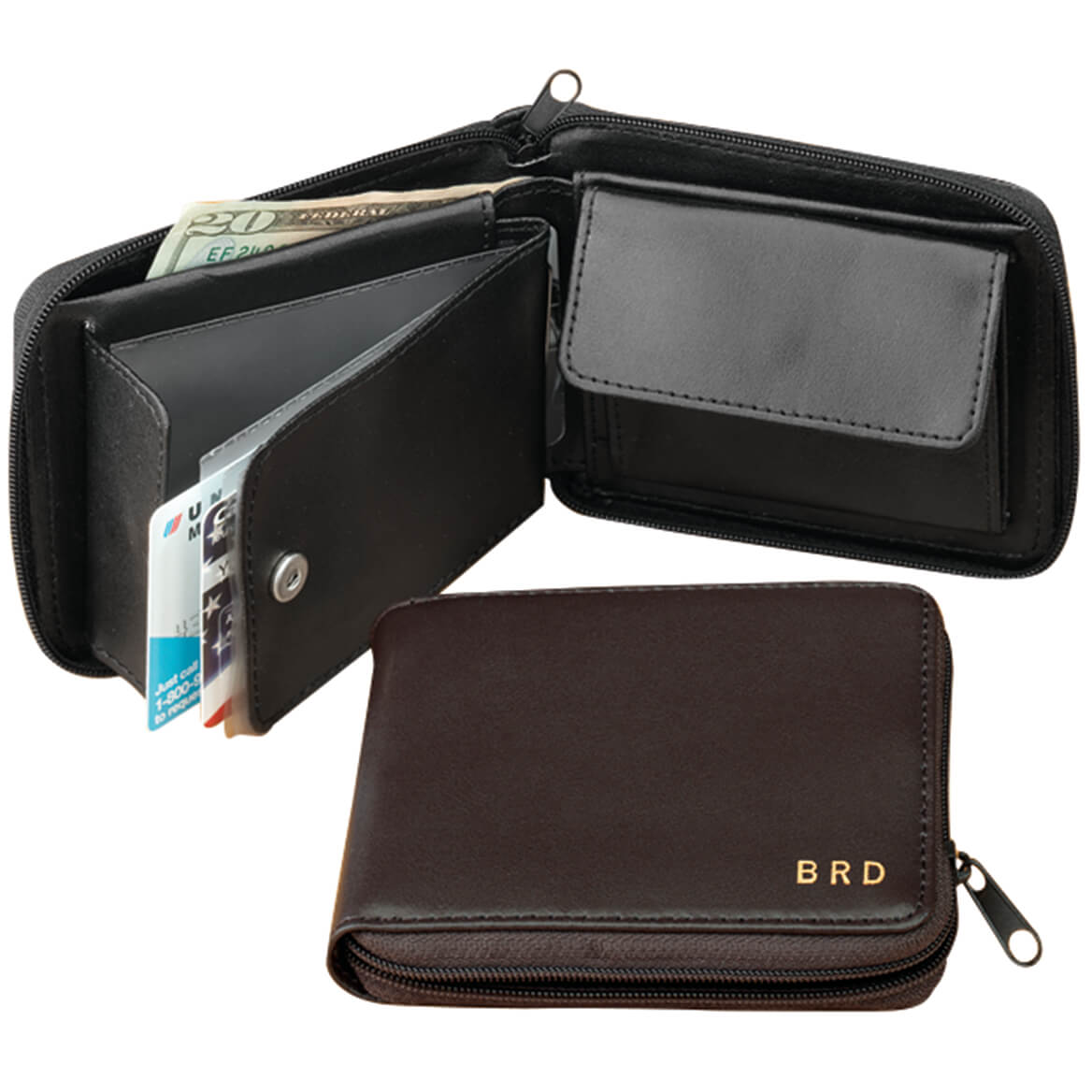 Personalized Leather Zipper Wallet-303263