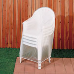 "Vinyl Outdoor Chair Cover, 24"" x 35"", White"