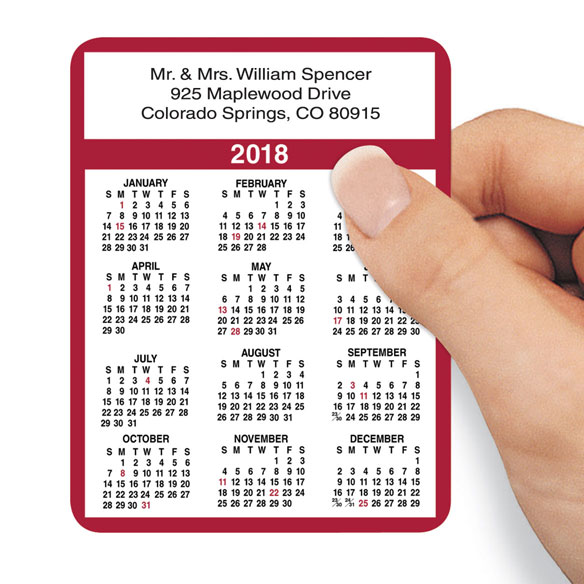 Personalized Self Stick Calendars Set/100 Burgundy Personalized self stick calendars with your name, address and phone number are effective, year 'round advertising to business associates! Each paper calendar is 3  x 3 7/8 . Print up to 4 lines, 34 letters and spaces each. Set of 100.