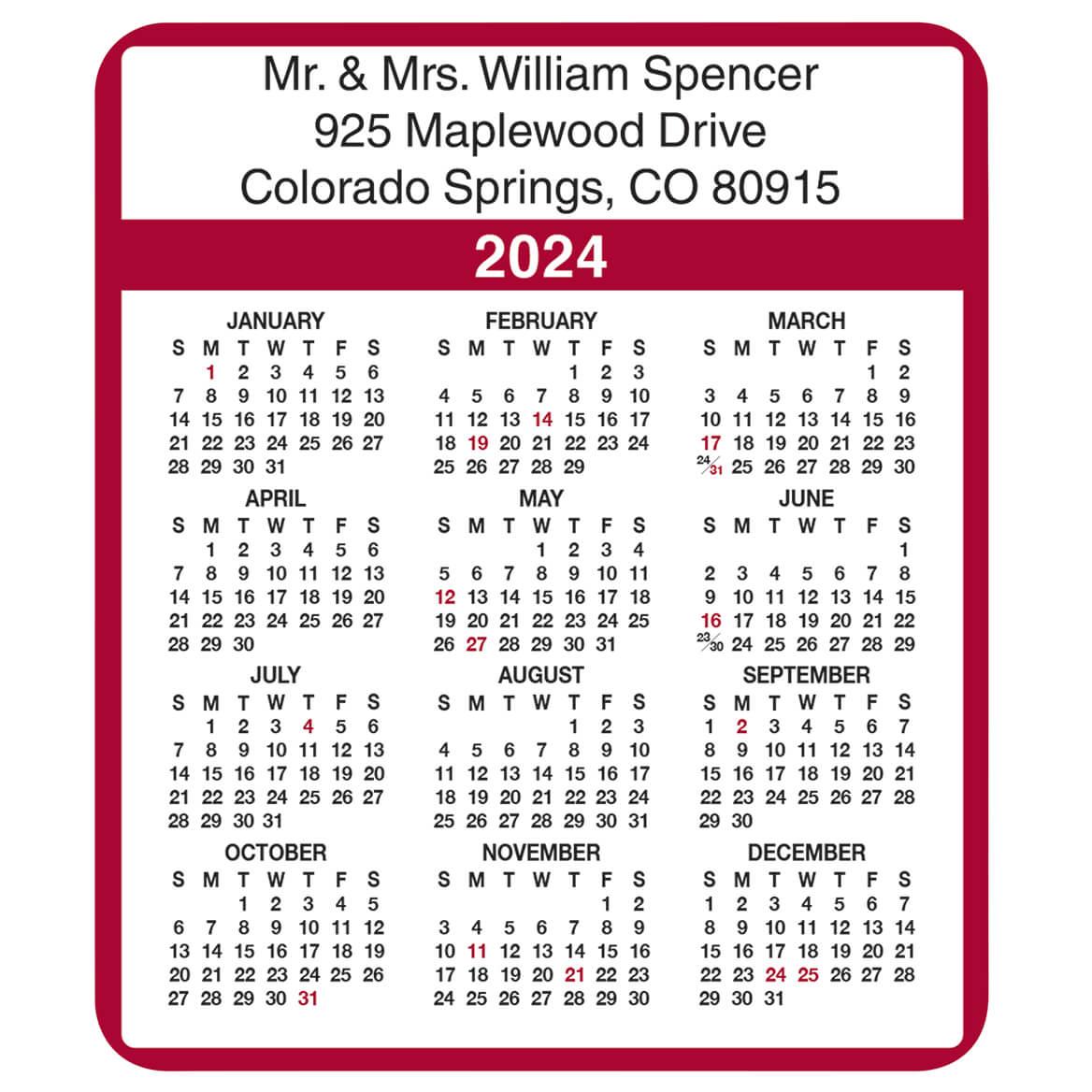 Personalized Burgundy Self-Stick Calendars, Set of 100-305554