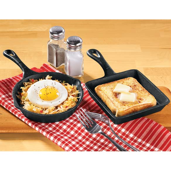 Set of Mini Cast Iron Round and Square Skillet Pans