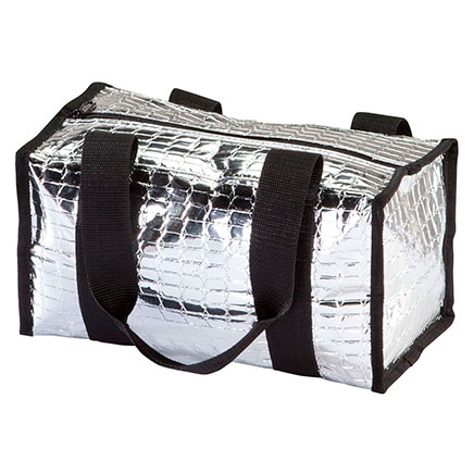 Insulated Tote Bag - Small Small thermal tote bag keeps food and drinks hot or cold. Insulated tote is wonderful for carrying perishables to picnics. Bags are lined and have webbed carrying handles. Fold for storage. Spills wipe clean with a damp cloth. Small tote is 11 3/4 long x 6 1/2 wide x 6 3/4 high.