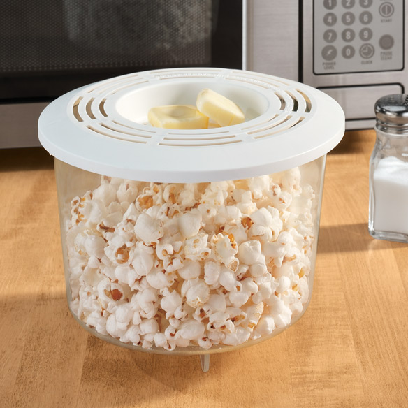 Microwave Popcorn Popper Microwave popcorn popper is better than store-bought, because you can pop your favorite brand and control the amount of butter and salt. Popcorn popper is microwave-fast (2 to 4 1/2 minutes), holds 10 cups, and is dishwasher safe. Fast preparation, fast cleanup. Plastic. Microwave popcorn maker measures 5 1/2 high x 7 1/2 diameter.