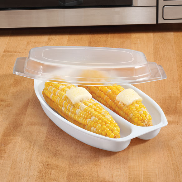 Microwave Corn Steamer Wouldn't you enjoy delicious corn on the cob more often if you could microwave it? Now you can-this special microwave corn steamer's lid retains cooking steam, and the base holds one or two ears. Microwave steamer cooks fresh or frozen ears in minutes. Dishwasher-safe plastic. 10 long x 6 1/2 wide x 2 1/4 deep. Accommodates 2 ears of corn, each approx. 8 long x 2 1/2 dia.
