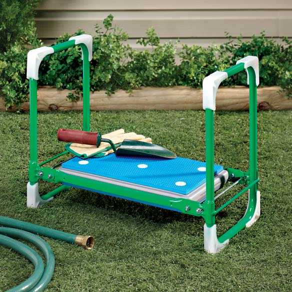 Folding Garden Seat This comfy gardening seat folds for storage when your work is done. Our durable folding garden kneeler and bench features a padded foam seat with grippersonalized to make gardening more comfortable. 21 long x 10 wide x 16 1/2 high.