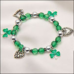 Health, Beauty & Apparel - Shamrock 4 Leaf Clover Stretch Bracelet