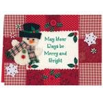 Secular - Calico Snowman Christmas Card Set of 20
