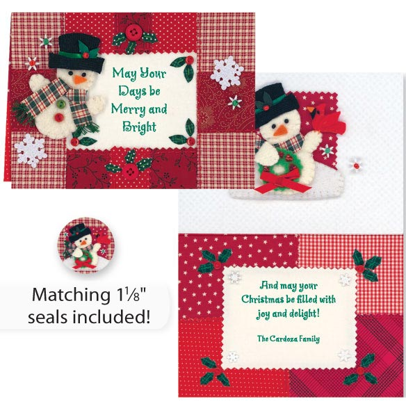 Calico Snowman Christmas Card Set of 20