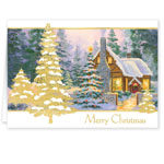 Christmas Cards - Glowing Cottage Personalized Christmas Cards Set Of 20