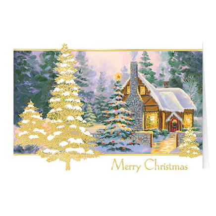 Купить со скидкой Glowing Cottage Personalized Christmas Cards - Set Of 20, Multicolor