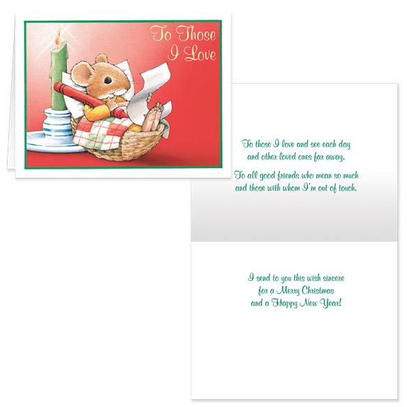 Christmas Mouse Those I Love Christmas Card - Set Of 20