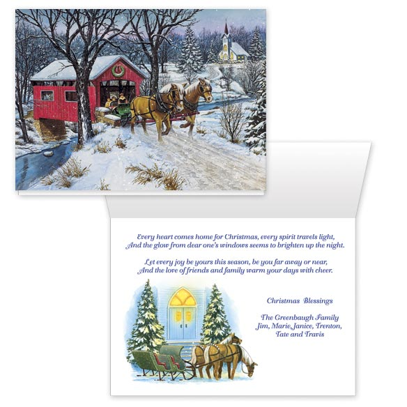 Home for Christmas Card Set/20, Multicolor Inside: Every heart comes home for Christmas, every spirit travels light, and the glow from dear ones' windows seems to brighten up the night. Let every joy be yours this season, be you far away or near, and the love of friends and family warm your days with cheer. Handsomely painted by artist Doug Knutson, your greeting glows with charm and warmth as this nostalgic winter's eve scene unfolds, touching the hearts of all who receive your greeting. White card stock with matte finish single folds to 7 x 5 ; white envelopes included. Personalization:  Christmas Blessings  is pre-printed. Specify names as they are to be printed on the cards. Set of 20 Save on additional sets! For non-personalizedonalized cards, simply select one of the two options below and leave the personalizedonalization area blank while ordering.