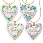 Stocking Stuffers - Personalized Porcelain Heart Necklace