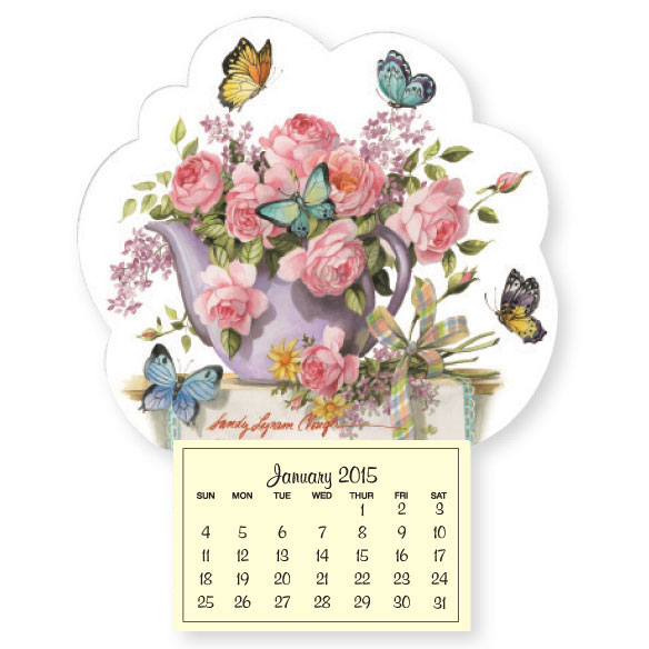 Teapot with Butterflies Mini Magnetic Calendar