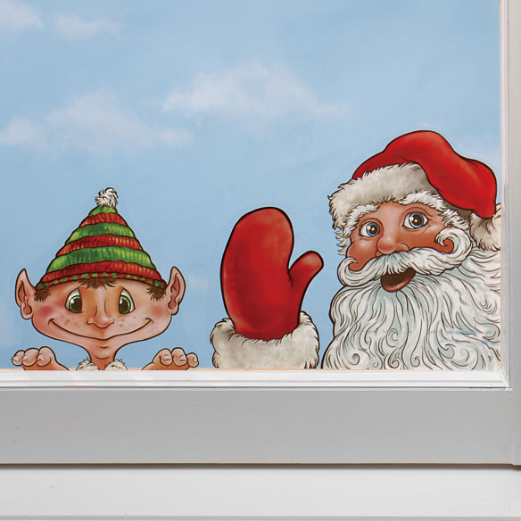 Santa and Elves Window Peeper Clings Set