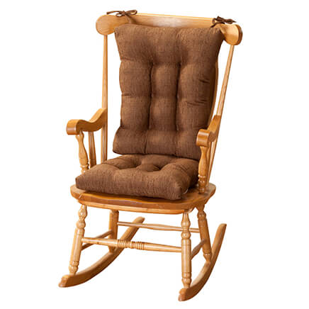 Tyson Rocking Chair Cushion Set Oversized cushions, thick padding and deep tufting make our rocking chair cushion set extra comfy. The back cushion (22 1/2 long x 18 1/2 wide x 4 deep) fastens to the rocker with 4 matching ties and the seat cushion (18 long x 17 wide x 3 deep) features a coordinating slip-resistant Gripper latex/polyester backing that secures it on the rocker seat. Rocker seat cushions are stain-resistant. Spot-clean cushions are filled with polyester fiberfill and made in the USA. Choose from 2 fabrics. Tyson Pattern: richly variegated, textured tweeds of imported acrylic, polyester and polypropylene.