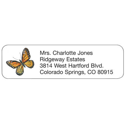 Butterfly Personalized Address Labels Butterfly address labels are delightfully designed. Address labels are self-stick and white. Labels are personalizedonalized in black. Specify up to 4 lines, 26 letters and spaces per line. Set of 200; 2 1/4  x 5/8  each.