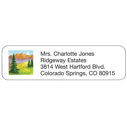 Mountain Scene Personalized Address Labels Mountain scene address labels are delightfully designed. Address labels are self-stick and white. Labels are personalizedonalized in black. Specify up to 4 lines, 26 letters and spaces per line. Set of 200; 2 1/4  x 5/8  each.