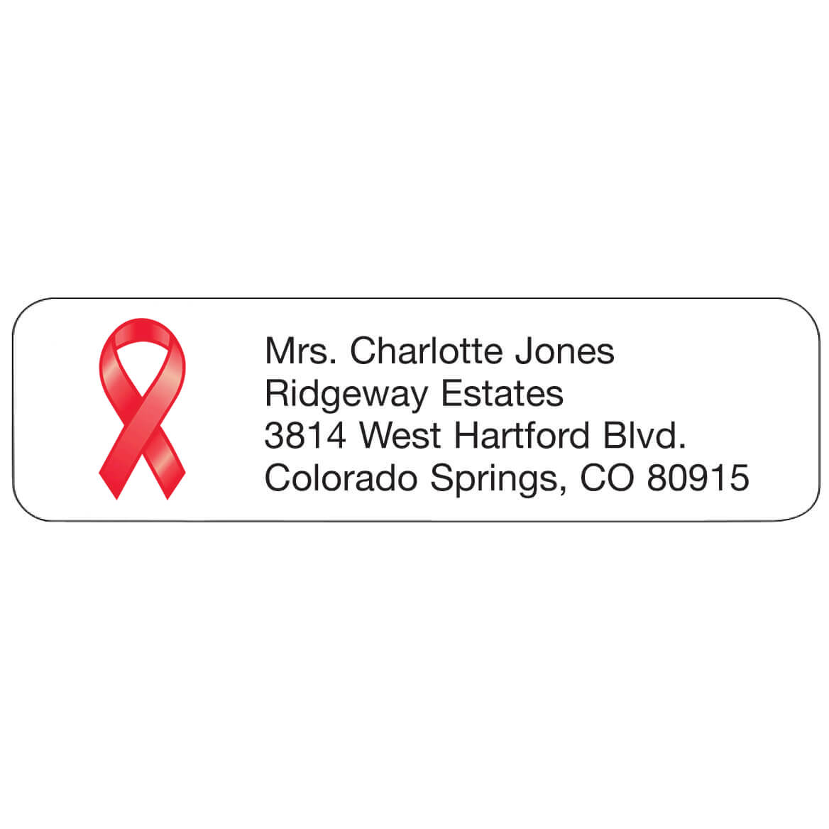 Red Ribbon Personalized Address Labels-333198