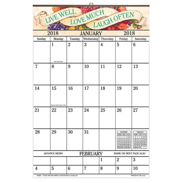 Live Love Laugh 1 Year Large Calendar