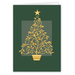Christmas Cards - Gold Embossed Tree Christmas Card - Set Of 20