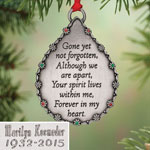 New - Personalized Teardrop Memorial Ornament