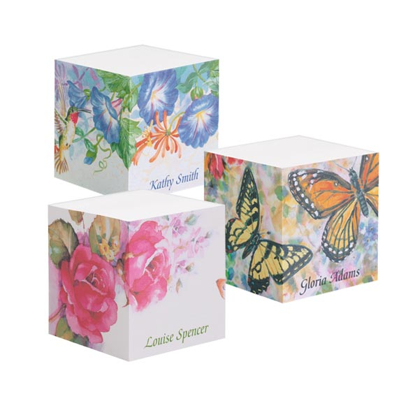 Designer Small Sticky Notecube, Multicolor Long-lasting and functional sticky pads make reminders and to-do lists more appealing. Make great gifts, too! Specify design: Roses, Hummingbird or Butterflies. Specify name, up to 15 characters.